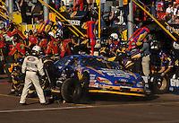 Nov 12, 2005; Phoenix, Ariz, USA;  Nascar driver Carl Edwards makes a pit stop during the Busch Series Arizona 200 at Phoenix International Raceway. Mandatory Credit: Photo By Mark J. Rebilas