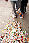 © Homer Sykes / Network Photographers<br /> Image Ref: HSB-10160028.psd<br /> <br /> Economic Turmoil in Argentina<br /> A man flattens aluminium drink cans, which he then collects to make some money.