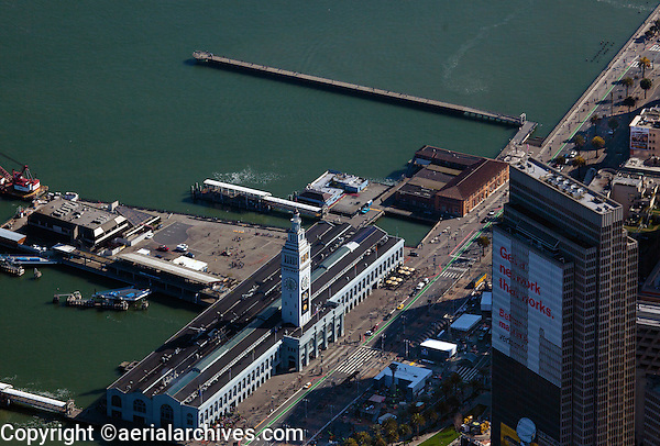 aerial photograph Ferry Building and Embarcadero Center Four with Verizon banner during Superbowl 50, San Francisco, California