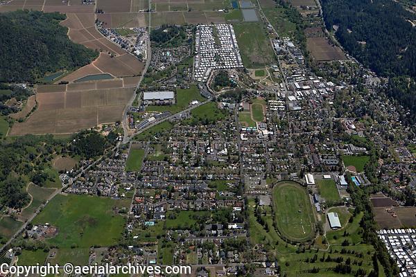 aerial photograph of Calistoga, Napa County, California