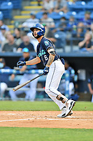 Asheville Tourists Joe Perez (8) swings at a pitch during a game against the Bowling Green Hot Rods on May 27, 2021 at McCormick Field in Asheville, NC. (Tony Farlow/Four Seam Images)
