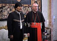 Cardinal Pietro Parolin receives the President of Bolivia, Juan Evo Morales Ayma at the Apostolic Palace on December 15, 2017 at the Vatican.
