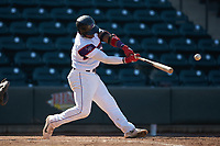 Yeyson Yrizarri (2) of the Winston-Salem Rayados makes contact with the baseball during the game against the Lynchburg Hillcats at BB&T Ballpark on June 23, 2019 in Winston-Salem, North Carolina. The Hillcats defeated the Rayados 12-9 in 11 innings. (Brian Westerholt/Four Seam Images)