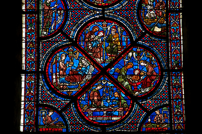 Bottom corners, left shows a belt seller, right a merchant. Centre panel, bottom shows a merchant with scales, left birth of St Nicholas, left the miracles of the first bath of St Nicholas, top The infant St Nicholas refuses his mother's milk except on mondays and fridays.