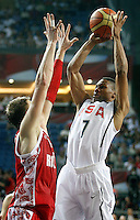 Russel WESTBROOK (USA) shoots over Andrey VORONTSEVICH (Russia)  during the quarter-final World championship basketball match against Russia in Istanbul, USA-Russia, Turkey on Thursday, Sep. 09, 2010..