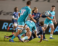 8th January 2021; AJ Bell Stadium, Salford, Lancashire, England; English Premiership Rugby, Sale Sharks versus Worcester Warriors;  Corbus Wiese of Sale Sharks releases the ball under the tackle of Ethan Waller of Worcester Warriors  to  Faf De Klerk of Sale Sharks