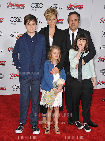 """Mark Ruffalo & wife Sunrise Coigney & children at the world premiere of his movie """"Avengers: Age of Ultron"""" at the Dolby Theatre, Hollywood.<br /> April 13, 2015  Los Angeles, CA<br /> Picture: Paul Smith / Featureflash"""