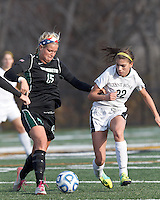 Wilmington University defender Morgan Fraczkowski (15) challenges College of St Rose forward Gianna Smith (22) attempt to brings the ball forward. . In 2012 NCAA Division II Women's Soccer Championship Tournament First Round, College of St Rose (white) defeated Wilmington University (black), 3-0, on Ronald J. Abdow Field at American International College on November 9, 2012.
