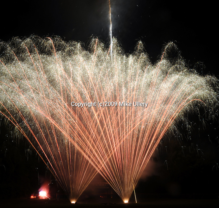 Fourth of July fireworks light the sky at lower Fountain Park.