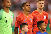 EAST RUTHERFORD, NJ - SEPTEMBER 7: Reggie Cannon #20 of the United States during the presentation of the team during a game between Mexico and USMNT at MetLife Stadium on September 6, 2019 in East Rutherford, New Jersey.