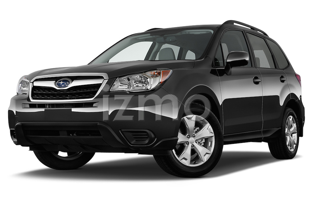 Stock pictures of low aggressive front three quarter view of a 2015 Subaru Forester 2.5I Pzev 5 Door SUV