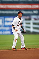 Frederick Keys shortstop Erick Salcedo (19) during a game against the Carolina Mudcats on June 4, 2016 at Nymeo Field at Harry Grove Stadium in Frederick, Maryland.  Frederick defeated Carolina 5-4 in eleven innings.  (Mike Janes/Four Seam Images)