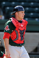 Catcher Danny Bethea (26) of the Greenville Drive during a preseason workout on  Wednesday, April 8, 2015, the day before Opening Day, at Fluor Field at the West End in Greenville, South Carolina. (Tom Priddy/Four Seam Images)