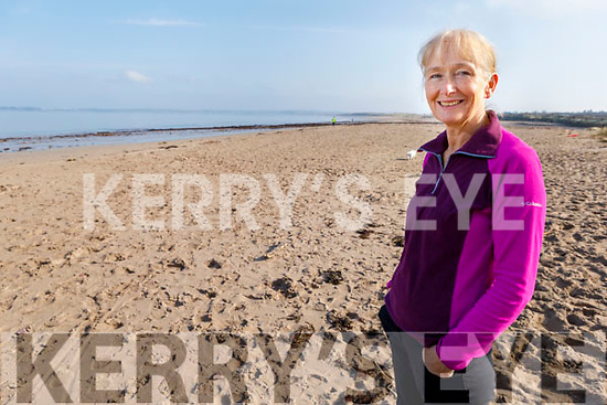 Mary Kiernan standing on Derrymore Beach on Friday morning.