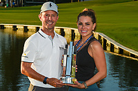 May 2nd 2021; The Woodlands, Texas, USA;  Mike Weir and his girlfriend Michelle Money with the trophy for winning the 2021 Insperity Invitational at The Woodlands Country Club on May 2, 2021 in The Woodlands, Texas.