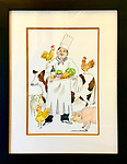 Untitled Chef<br /> Watercolor on Archival Paper in a beautifully matted professional frame.<br /> 19x15<br /> <br /> $2,200