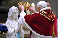 Pope Benedict XVI  statue of St. Mary of Lourdes at the end of a Mass celebrated by Cardinal Camillo Ruini, head of Italian Bishops Board, on the occasion of the 'World Day of the Sick' in St. Peter's Basilica at the Vatican, Sunday, Feb. 11, 2007