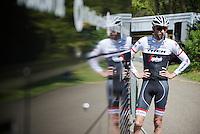 Ryder Hesjedal (CAN/Trek-Segafredo) back at the teambus after the first pre-Giro training ride with Team Trek-Segafredo in Gelderland (The Netherlands)<br /> <br /> 99th Giro d'Italia 2016