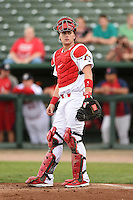 Peoria Chiefs catcher Carson Kelly (19) during a game against the Kane County Cougars on June 2, 2014 at Dozer Park in Peoria, Illinois.  Peoria defeated Kane County 5-3.  (Mike Janes/Four Seam Images)