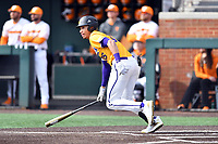 Western Illinois Drue Galassi (35) runs to first base during a game against the University of Tennessee at Lindsey Nelson Stadium on February 15, 2020 in Knoxville, Tennessee. The Volunteers defeated Leathernecks 19-0. (Tony Farlow/Four Seam Images)