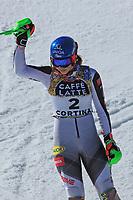 20th February 2021; Cortina d'Ampezzo, Italy; FIS Alpine World Ski Championships, Women's Slalom ; Petra Vlhova (SVK) celebrates her 2nd place