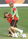 Atletico de Madrid's Filipe Luis (l) and Fernando Torres during Champions League 2015/2016 training session. May 27,2016. (ALTERPHOTOS/Acero)