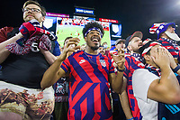 NASHVILLE, TN - SEPTEMBER 5: USA Fans react to a scoring opportunity during a game between Canada and USMNT at Nissan Stadium on September 5, 2021 in Nashville, Tennessee.