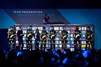 Team Direct Energie team presentation in the legendary Kuipke Velodrome. <br /> <br /> 74th Omloop Het Nieuwsblad 2019 (BEL)<br /> Gent – Ninove: 200km<br /> ©kramon