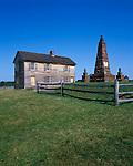 Manassas National Battlefield Park, VA<br /> The Henry house and Civil War monument with split rail fence on Henry Hill