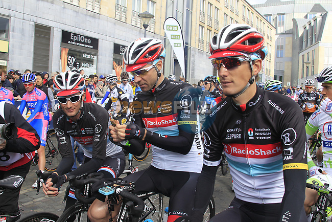 Andy and Frank Schleck (LUX) and Jens Voigt (GER) Radioshack-Nissan at start of the 98th edition of Liege-Bastogne-Liege outside the Palais des Princes-Eveques, running 257.5km from Liege to Ans, Belgium. 22nd April 2012.  <br /> (Photo by Eoin Clarke/NEWSFILE).