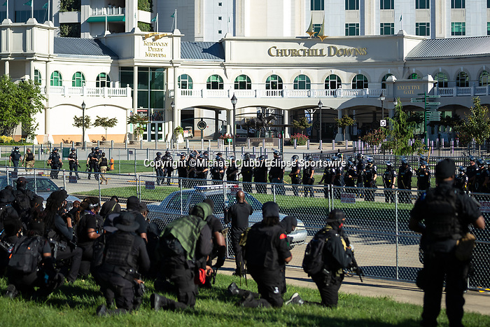 "September 5, 2020:   Members of the NFAC are met by police outside of Churchill Downs  the 146th Kentucky Derby. With the Kentucky Derby being the biggest sports event for the State of Kentucky, protestors have chosen the  event as a focal point for their calls for justice in the death of Breonna Taylor. Multiple groups from around the country have converged on Louisville to protest during the ""Run for the Roses"" at Churchill Downs in Louisville. Michael Clubb/Eclipse Sportswire/CSM"