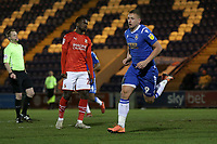 Luke Norris of Colchester United scores the first goal for his team and celebrates during Colchester United vs Swindon Town, Sky Bet EFL League 2 Football at the JobServe Community Stadium on 28th January 2020
