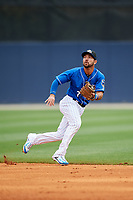Biloxi Shuckers second baseman Javier Betancourt (7) during a game against the Jackson Generals on April 23, 2017 at MGM Park in Biloxi, Mississippi.  Biloxi defeated Jackson 3-2.  (Mike Janes/Four Seam Images)
