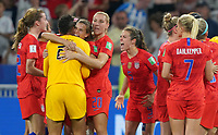 DECINES-CHARPIEU, FRANCE - JULY 02: The USWNT celebrate thier Semi-Final victory over England during a 2019 FIFA Women's World Cup France Semi-Final match between England and the United States at Groupama Stadium on July 02, 2019 in Decines-Charpieu, France.