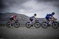 Tim Declercq (BEL/Deceuninck - Quick Step), Maximiliano Richeze (ARG/Deceuninck Quick Step) & Fabio Jakobsen (NED/Deceuninck - QuickStep) up the first categorised climb of the day: the Puerto de Bernardo<br /> <br /> Stage 20: Arenas de San Pedro to Plataforma de Gredos (190km)<br /> La Vuelta 2019<br /> <br /> ©kramon