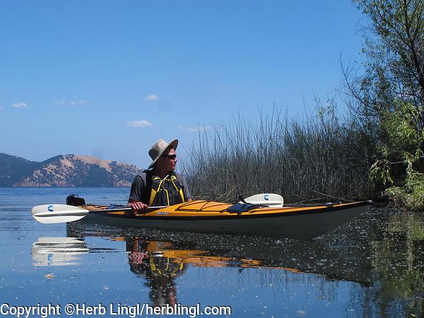 Manny Capriotti kayaking on Clear Lake,  in a kevlar Necky, Looksha IV, near Lakeport, Lake County, California