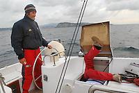 - sailing boat in navigation in Tyrrhenian sea, emergency mechanical repair....- barca a vela in navigazione nel mar Tirreno, riparazione meccanica d'urgenza