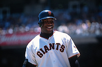 SAN FRANCISCO, CA:  Barry Bonds of the San Francisco Giants waits in the on deck circle during a game at Pacific Bell Park in San Francisco, California in 2002. (Photo by Brad Mangin)
