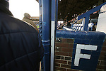 Stockport County 2 Rushden & Diamonds 2, 22/01/2006. Edgeley Park, League Two. Stockport County versus Rushden & Diamonds, Coca-Cola Football League Two at Edgeley Park, Stockport. With the teams occupying the bottom two places in the Football league, points were vital in home club's Jim Gannon's first game in charge as manager. The match ended 2-2. Picture shows County fans making their way to their seats in the main stand.<br />  Photo by Colin McPherson.