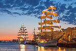 Tall ships at sunrise, Boston, Massachusetts, USA