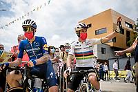 World Champion Julian Alaphilippe (FRA/Deceuninck - QuickStep) at the race start in Albertville<br /> <br /> Stage 10 from Albertville to Valence (191km)<br /> 108th Tour de France 2021 (2.UWT)<br /> <br /> ©kramon