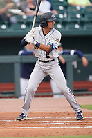 Shortstop Alika Williams (6) of the Charleston RiverDogs in a game against the Columbia Fireflies on Tuesday, May 11, 2021, at Segra Park in Columbia, South Carolina. (Tom Priddy/Four Seam Images)