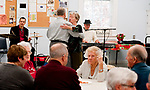 """WATERTOWN, CT 21_NEW_122017JS03-- Paval Marcisk and Hannalore Werling, dance to the music of The Boogie Boys, Nick Longo of Waterbury left, and Larry """"Buzz"""" Fallstrom of Prospect, during the annual holiday party held Wednesday at the Falls Avenue Senior Center in Watertown. <br />Jim Shannon Republican-American"""