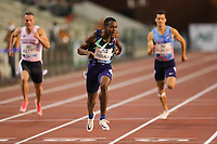5th September 2020, Brussels, Netherlands;  Italys Eseosa Fostine Desalu hits the finish line during the 200m Men at the Diamond League Memorial Van Damme athletics event at the King Baudouin stadium in Brussels, Belgium