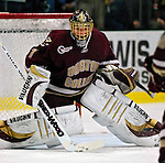 """19 January 2007: Boston College goaltender Corey Schneider from Marblehead, MA, warms up prior to a Hockey East division matchup against the University of Vermont at Gutterson Fieldhouse in Burlington, Vermont. The UVM Catamounts defeated the BC Eagles 3-2 before a record setting 50th consecutive sellout at """"the Gut""""...Mandatory Photo Credit: Ed Wolfstein Photo."""