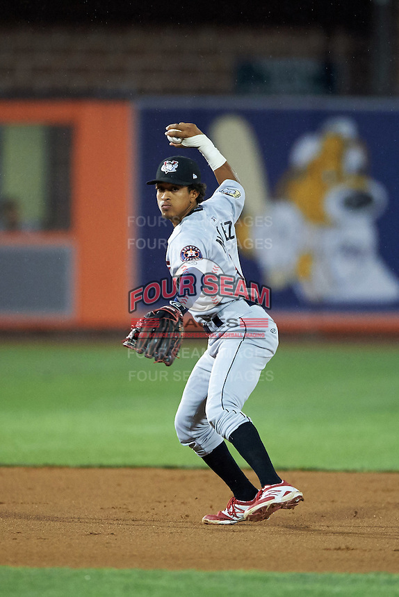 Tri-City ValleyCats shortstop Antonio Nunez (2) throws to first during a game against the Aberdeen Ironbirds on August 6, 2015 at Ripken Stadium in Aberdeen, Maryland.  Tri-City defeated Aberdeen 5-0 in a combined no-hitter.  (Mike Janes/Four Seam Images)