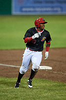 Batavia Muckdogs left fielder Albert Guaimaro (13) runs the bases during a game against the Williamsport Crosscutters on June 22, 2018 at Dwyer Stadium in Batavia, New York.  Williamsport defeated Batavia 9-7.  (Mike Janes/Four Seam Images)