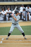 Justin Lebek (7) of the Davidson Wildcats at bat against the Wake Forest Demon Deacons at David F. Couch Ballpark on May 7, 2019 in  Winston-Salem, North Carolina. The Demon Deacons defeated the Wildcats 11-8. (Brian Westerholt/Four Seam Images)