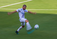 LOS ANGELES, CA - AUGUST 22: Perry Kitchen #2 of the Los Angeles Galaxy sends ball downfield during a game between Los Angeles Galaxy and Los Angeles FC at Banc of California Stadium on August 22, 2020 in Los Angeles, California.