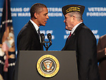 Presiden Barack Obama greets Richard De Noyer at the 113th National Convention of the Veterans of Foreign Wars in Reno, Nev., on Monday, July 23, 2012..Photo by Cathleen Allison